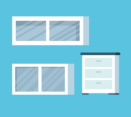 set wood wall shelf equipment in the office vector illustration