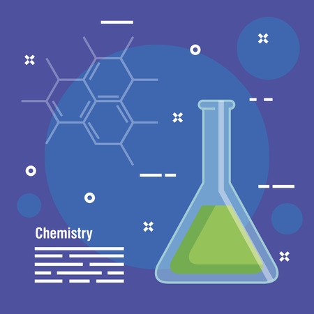 chemistry flask analysis equipment vector illustration