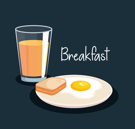 fried egg with slice bread and orange juice vector illustration Illustration