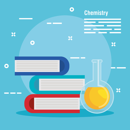 chemistry books with  flask analysis vector illustration Çizim