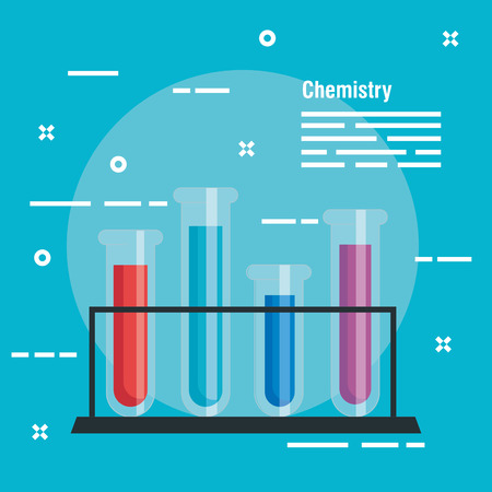 chemistry laboratory with tubes analysis technology vector illustration