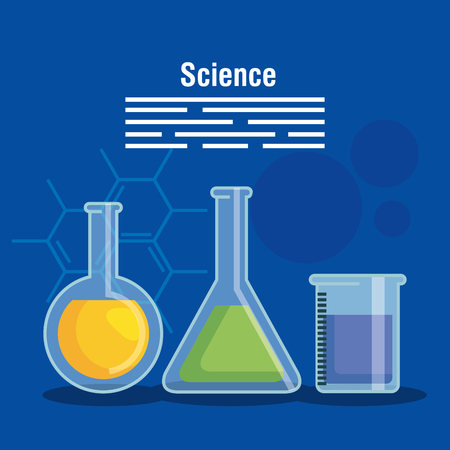 chemistry flask analysis technology vector illustration Çizim