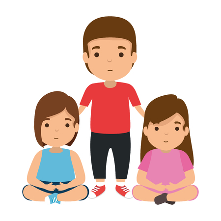 father with daughters characters vector illustration design Illustration