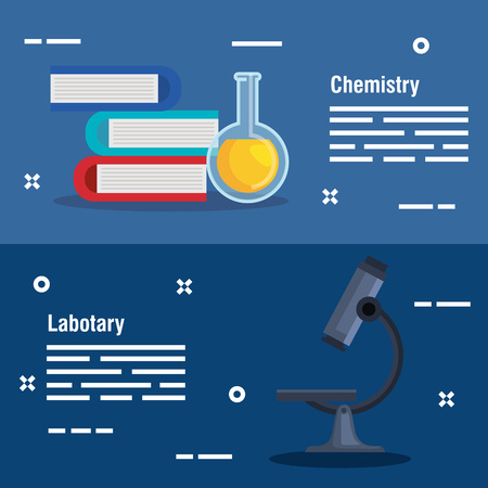 set chemistry books with flask and microscope vector illustration