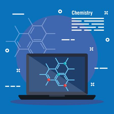 laptop technology with chemistry biology molecule vector illustration