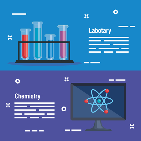 set tubes analysis and computer with atom vector illustration Illustration