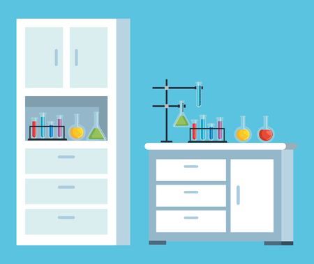 chemistry office with tubes and flask vector illustration 일러스트