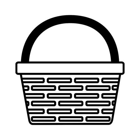 wicker basket icon on white background vector illustration