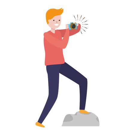 man taking photo with camera - my hobby vector illustration
