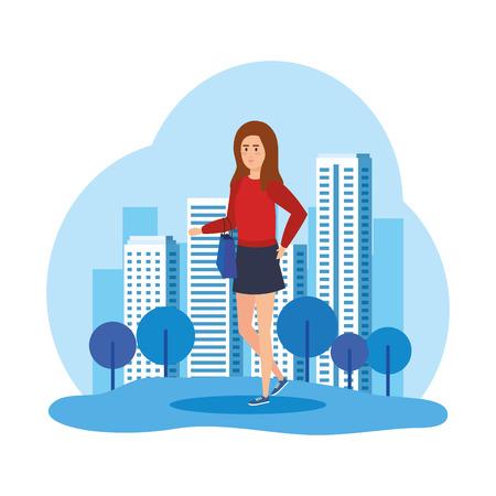 schöne und junge Frau Charakter Vektor-Illustration Design