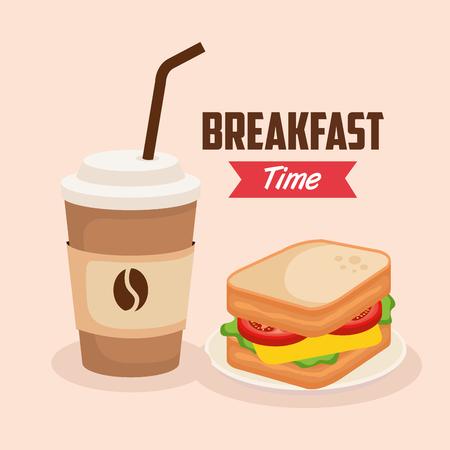 Delicioso sándwich con ilustración de vector de taza de plástico de café
