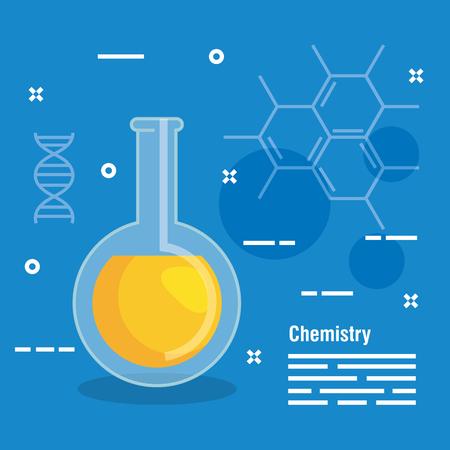 Équipement de fiole d'erlenmeyer à l'illustration vectorielle d'analyse chimique