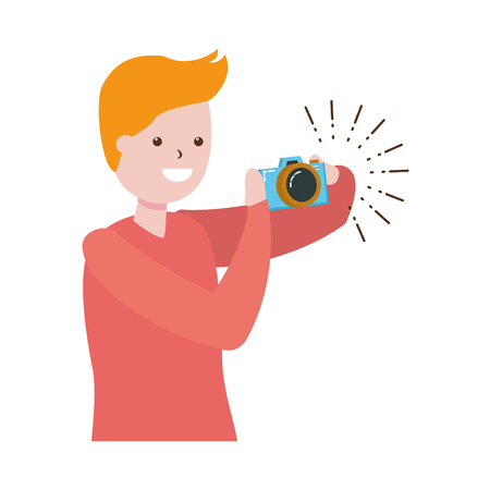 man taking photo with camera - my hobby vector illustration Zdjęcie Seryjne - 119212382