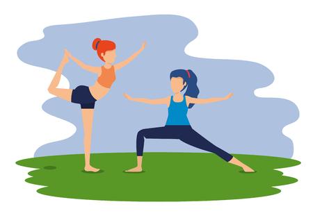women practice exercise yoga posture vector illustration