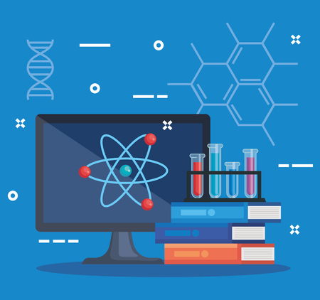 computer technology with chemistry books and tubes vector illustration Çizim