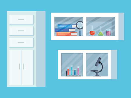 set chemistry shelf with books and erlenmeyer flask vector illustration