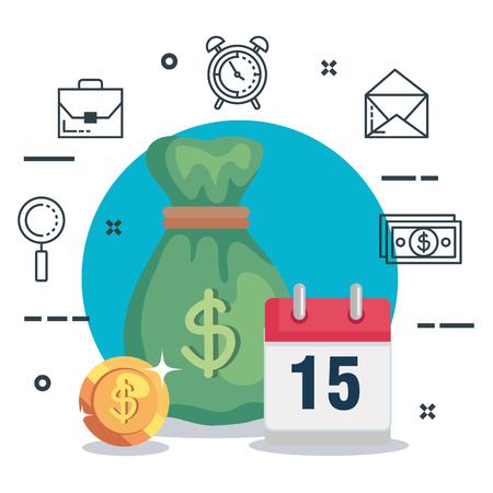 Bolsa de dinero con monedas de finanzas y calendario ilustración vectorial