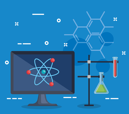 computer with atom and erlenmeyer flask with tube test vector illustration Illustration
