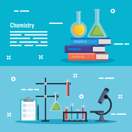 set erlenmeyer flask with chemistry books and microscope vector illustration