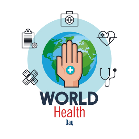 hand with cross and medicine to health day vector illustration Ilustração