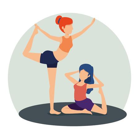 fitness women doing yoga exercise position vector illustration