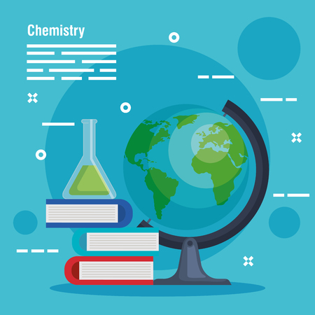 erlenmeyer flask with books and desk earth planet vector illustration