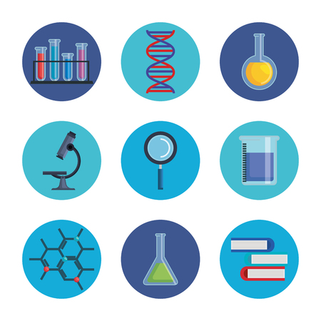 set chemistry experimen with laboratory analysis technology vector illustration Illustration