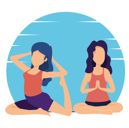 fitness women practice yoga exercise vector illustration