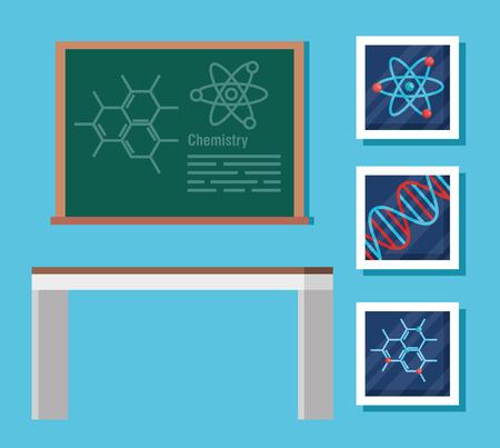 set chemistry blackboard with desk and biology science vector illustration