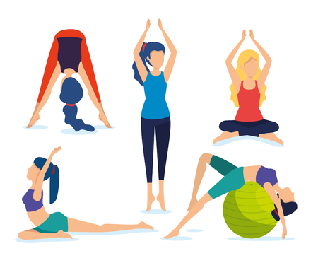 set women doing exercise meditation vector illustration Illustration