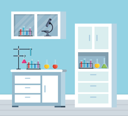 chemistry office with erlenmeyer flask and tubes test vector illustration Illustration