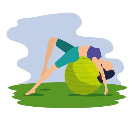 woman doing relaxation exercise pose vector illustration Ilustração