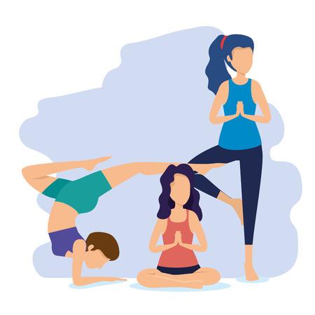 fitness women doing exercise position vector illustration