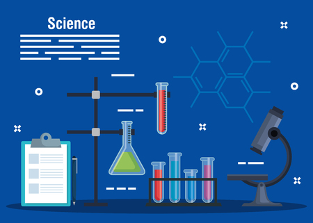 check list diagnosis with erlenmeyer flask and tubes vector illustration Illustration