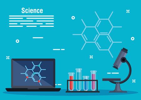 technologie informatique avec molécule et tubes avec illustration vectorielle microscope