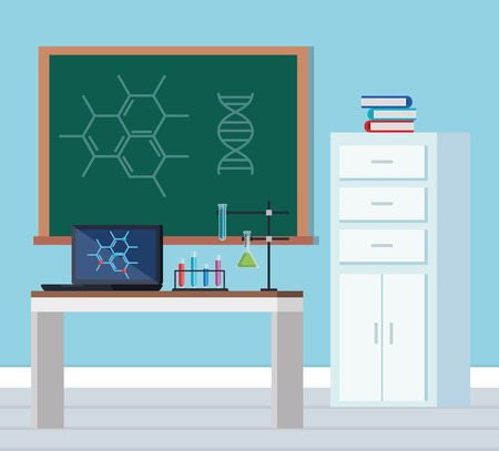 chemistry office with blackboard and laptop technology vector illustration