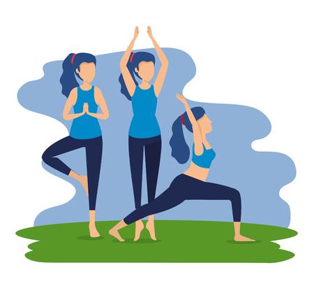 women practice yoga posture harmony vector illustration Illustration