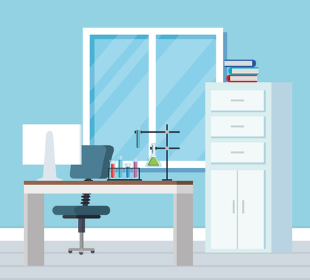 chemistry office with books and computer technology vector illustration Illustration