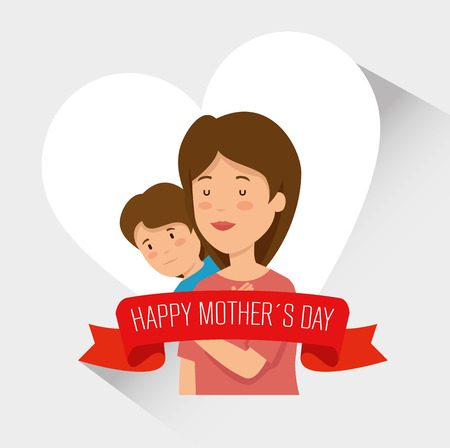 beauty woman with her son and ribbon to mothers day vector illustration