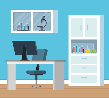 chemistry office with microscope and computer technology vector illustration Illustration