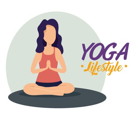woman doing yoga balance pose vector illustration