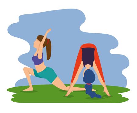 women practice yoga exercise posture vector illustration
