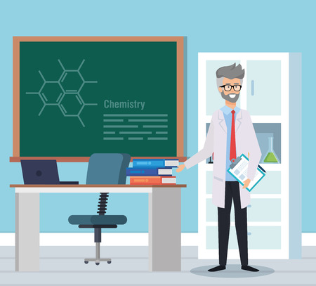 old man chemist with books and blackboard vector illustration