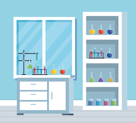 chemistry office with erlenmeyer flask and tubes vector illustration