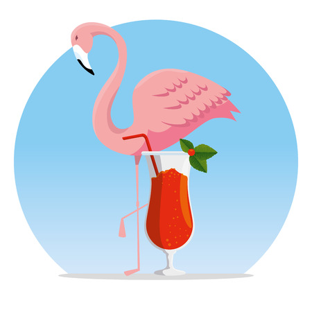 tropical flemish with exotic cocktail beverage vector illustration