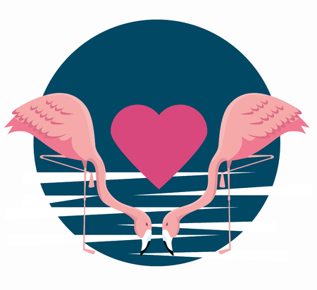tropical flamingos couple with heart in the beach vector illustration Иллюстрация