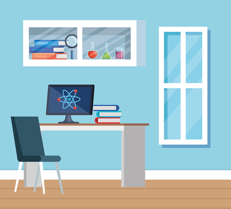 chemistry office with computer technology and books vector illustration Illustration