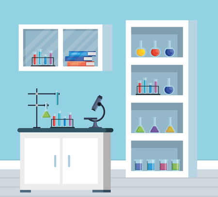 office chemistry with erlenmeyer flask and books vector illustration Illustration
