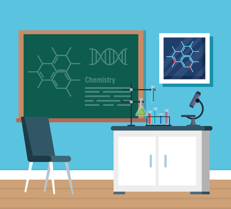 chemistry office with tubes analysis and blackboard vector illustration