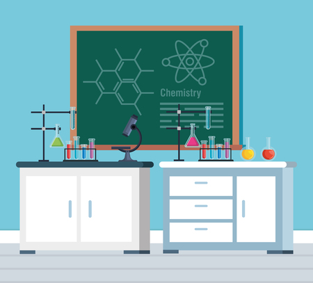 chemistry office with blackboard and microscope analysis vector illustration